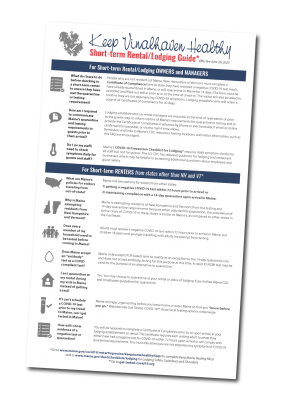 Infographic displaying the information about rentals as outlined by the Keep Maine Healthy Plan