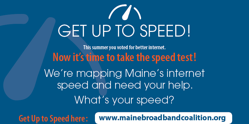 Blue background graphic with words describing the Broadband Speed Test and how to take it.